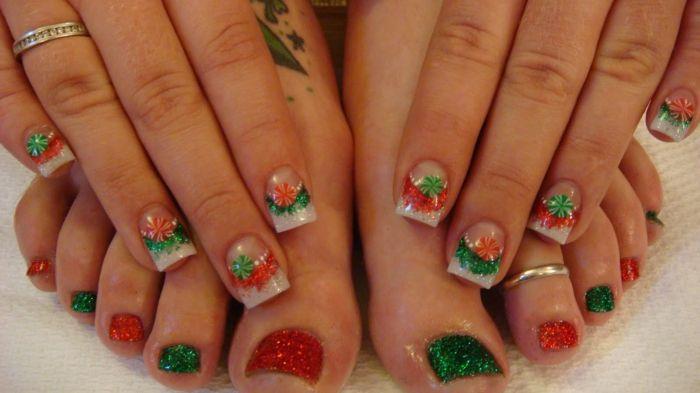 design weihnachten grün rot glitzer finger zehen