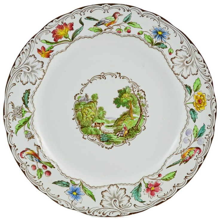 Two Antique Spode Dinner Plates Retailed by James Shoolbred u0026 Co  sc 1 st  Pinterest & 100+ best SPODE CHINA images on Pinterest | Dishes Dinner ware and ...