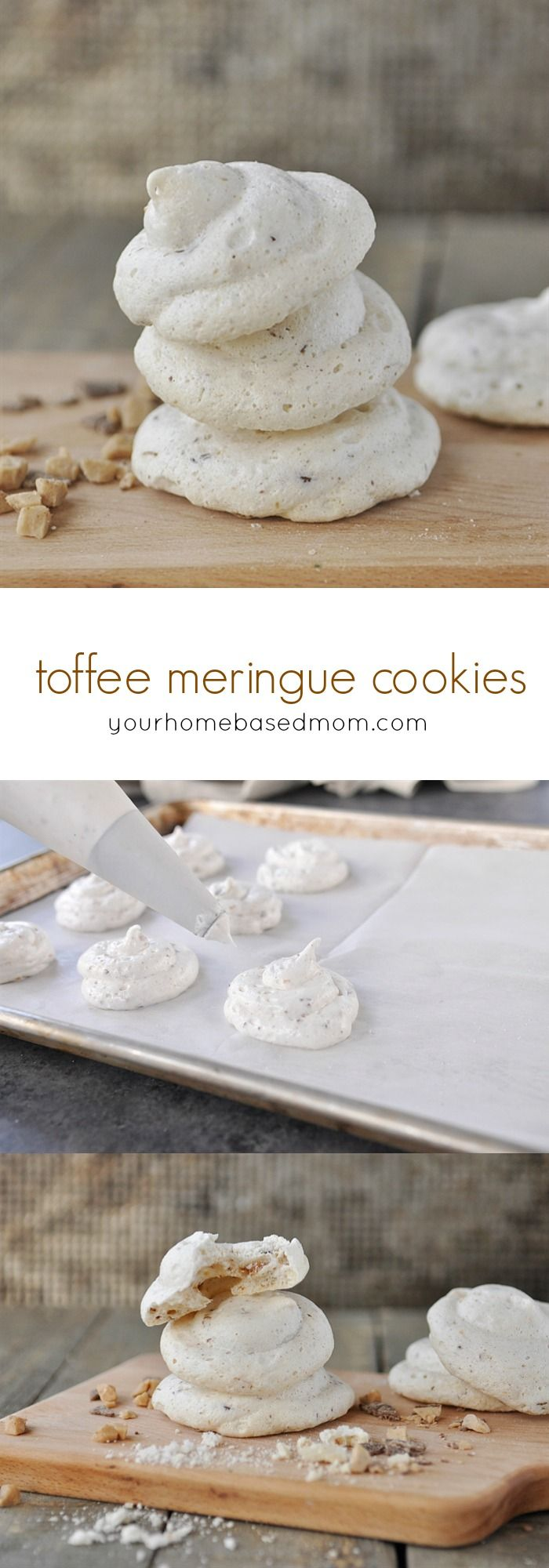 Toffee Meringue Cookies Recipe - crispy on the outside and chewy on the inside - These Toffee Meringue Cookies are going at the top of my To Bake list this holiday season!