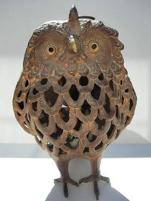 Antique Cast Iron Owl Lantern Japan Unique Vintage Candle