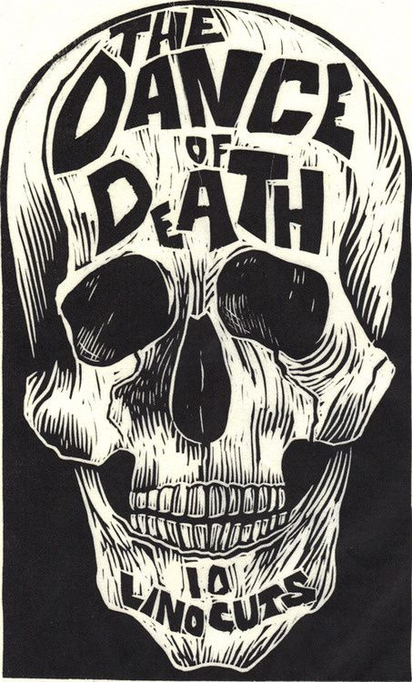 Designersgotoheaven.com The Dance of Death Linocut by Kreg Yingst.(via 50 Watts) in Illustration