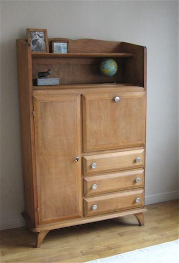 armoire secr taire meubs meuble vintage meuble vintage vintage furniture en 2019. Black Bedroom Furniture Sets. Home Design Ideas