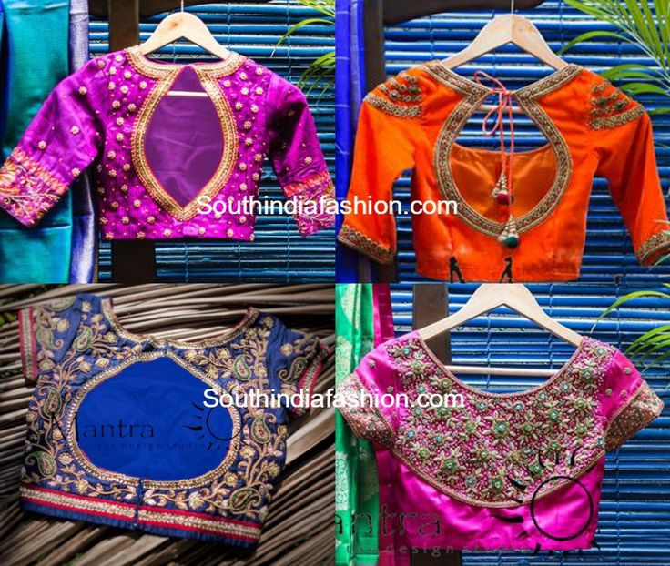 bridal maggam embroidered saree blouse designs for kanjeevaram sarees and silk sarees by Mantra the design studio