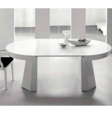 Mesa de comedor en madera de haya redonda y extensible.