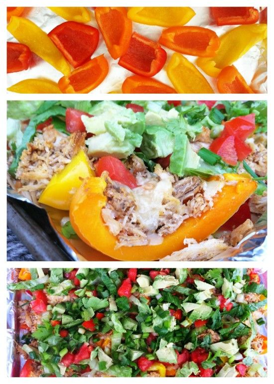 Healthy and Flavor Packed Loaded Nachos using Bell Peppers for the chips!The crockpot taco chicken recipe is amazing!