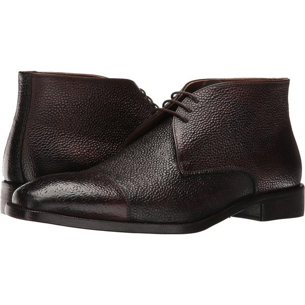 Kenneth Cole New York Pea-coat (Espresso) Men's Lace-up Boots ($171) ❤ liked on Polyvore featuring men's fashion, men's shoes, men's boots, brown, mens cap toe shoes, mens leather soled boots, kenneth cole mens shoes, mens lace up boots and mens brown leather lace up boots