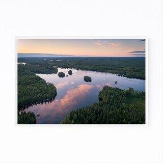 Noir Gallery Finland Lake Landscape Nature Framed Art Print (20 x 24 – White)