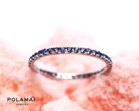Sapphire Eternity Ring . Solid 18k Gold . Stacking Ring . Wedding Band . Blue Sapphire Band . Yellow White Rose Gold . Full Eternity