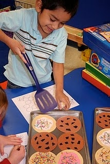 great site for community helper theme with lots of center ideas dealing with literacy and math-kindergarten,1st grade. The students are pretending to flip cookies as bakers. I might tweak this and add pizzas into it. I might even want to make them into flash cards with one side having eight chocolate chips or pepperonis, and the other side saying the number.