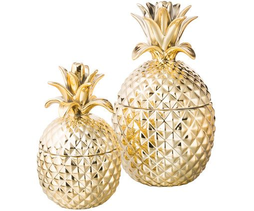 Storage box set Pineapple, 2-pc., Outside: gold-colored, glossy Interior: white