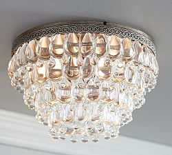 Clarissa Crystal Drop Flushmount | Pottery Barn Entry way light