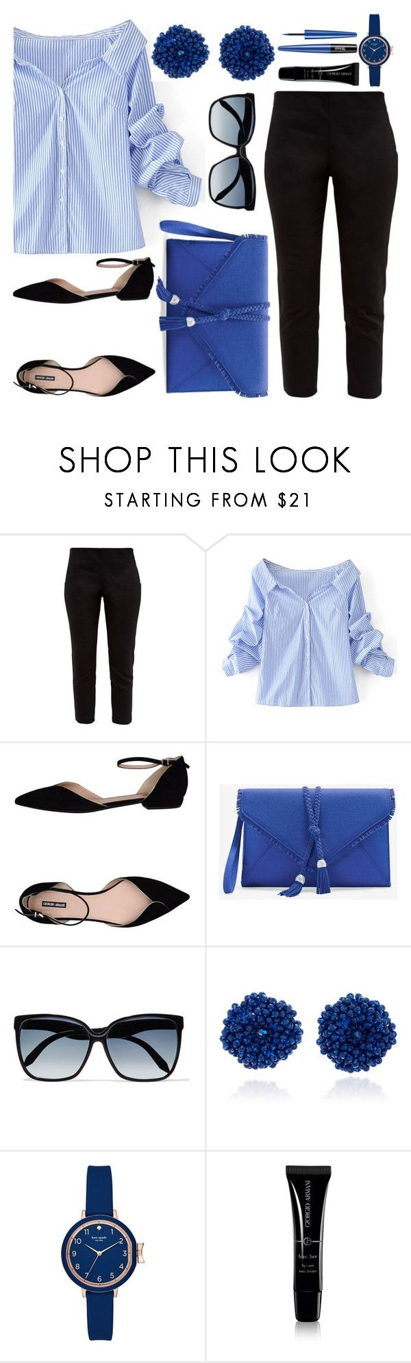 """""""casual blue and black"""" by ayiarundhati ❤ liked on Polyvore featuring Ted Baker, WithChic, Giorgio Armani, White House Black Market, Victoria Beckham, Bibi Marini, Kate Spade, casual, black and Blue"""