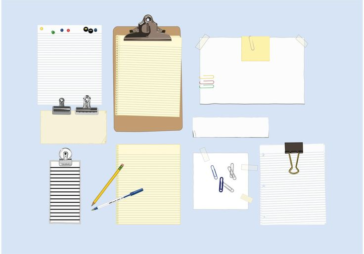 Free vector stationery pack. Office materials vector set of office and paper supplies. Vector collection of stationery objects, which includes notice boards, magnets, pen, pencil, paper and pins. Free vector office set by Donna J. Morse.
