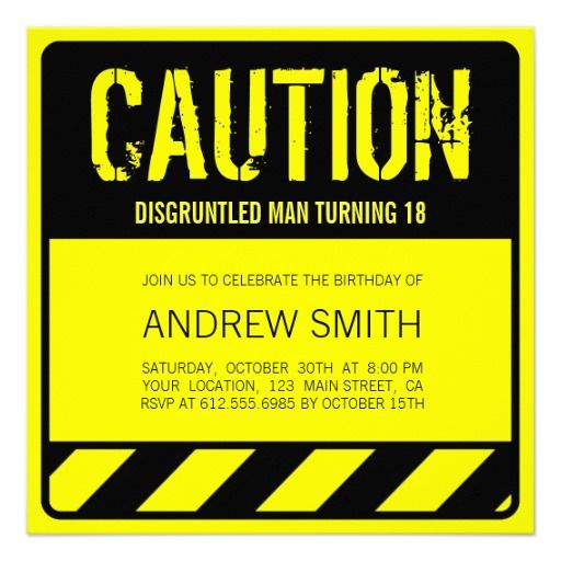 Funny Caution 18th Birthday Party Invitations Sweet 16 Birthday