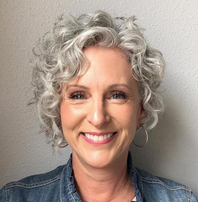 Pixie Bob With Silver Ringlets 60 Short Curly Hairstyles For Women Short Curly Haircuts Curly Hair Styles