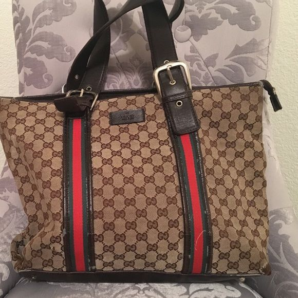 gucci used. Gucci Tote Bag Brown/tan/red/green Authentic Bag, Used C