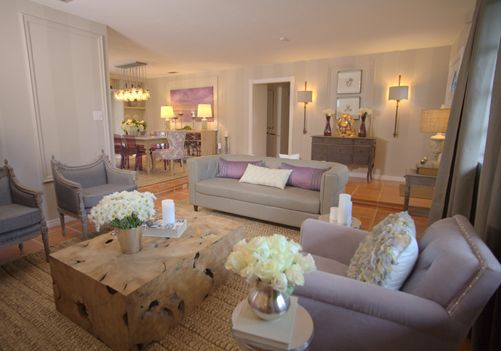 David Bromstad Color Splash Living Room- I love this living room. The lilacs and lavenders don't overwhelm the room, the neutral greys anchor the this room. Beautiful, yet simple floral arrangements ties this room together nicely.