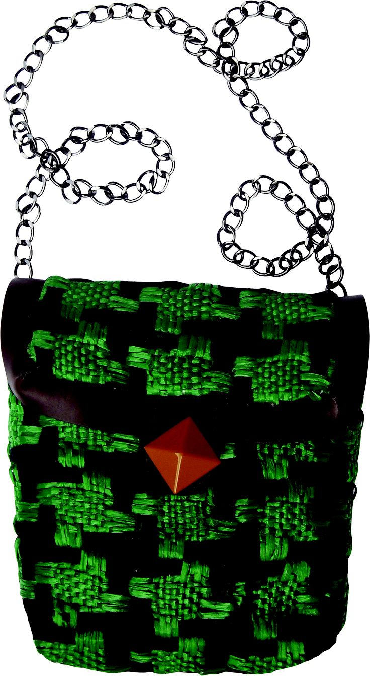 Submarine Xs chain small bag in handwoven fabric donna green. geometrical details. chain handle