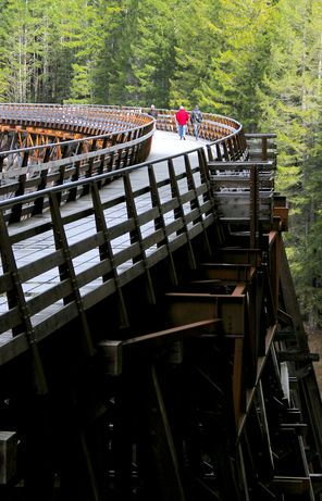 On eastern Vancouver Island, good trails follow rivers, climb hills, cross a big trestle — and lead to good food and drink.