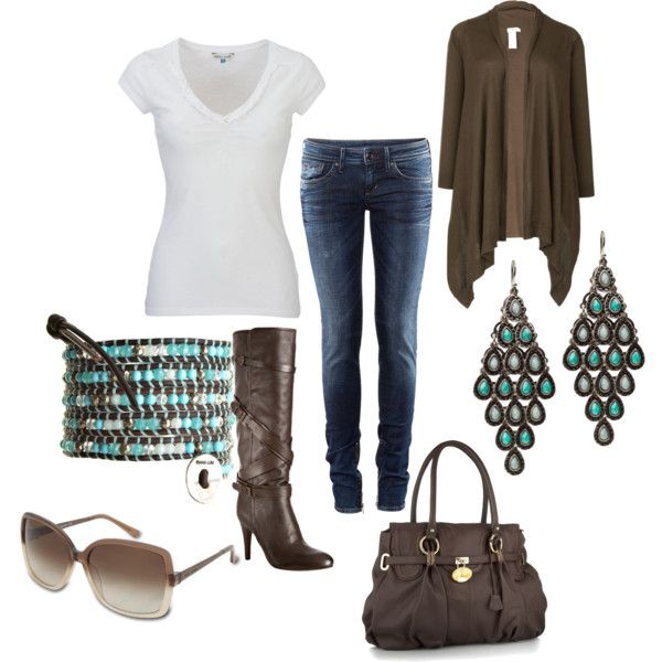 Jeans, white t-shirt, brown wrap cardigan, tall brown boots, turquoise/brown bracelet
