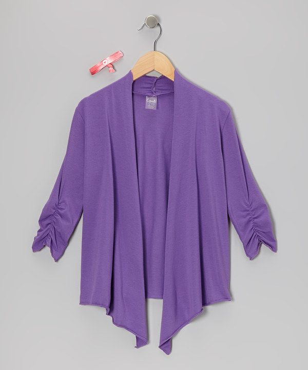 Take a look at this Pretty Purple Katy Cardigan & Hair Tie on zulily today!