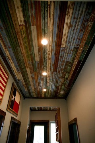 Modern ceiling in a hill country home.  Jazz up a hallway, guest bedroom, bathroom, or office.  Lisa says - a great way to repurpose old wood!