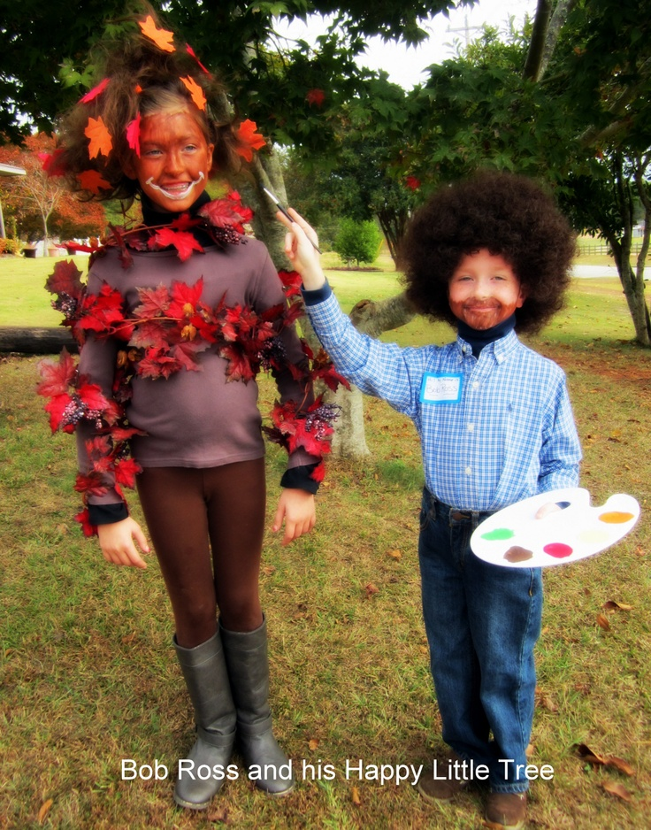 Halloween 2012 Sibling Costumes/ Couples Costumes Happy 70th Birthday Bob Ross! Bob Ross and his Happy Little Tree