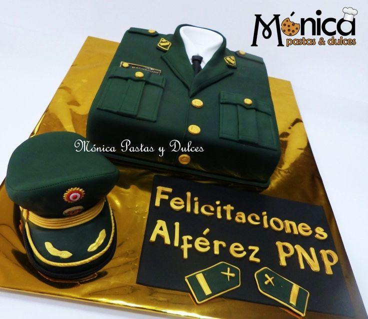 TORTA MILITAR DE ASCENSO DE PNP con detalles personalizados elaborado por MONICA PASTAS Y DULCES