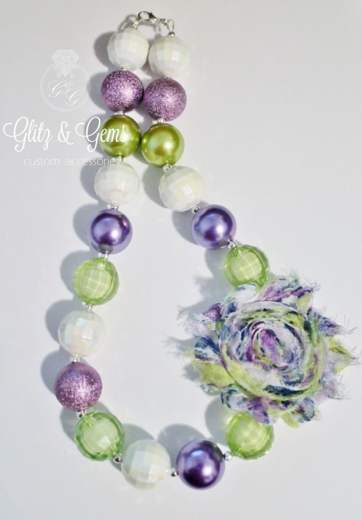 Chunky Bubble Gum Bead Necklace shabby flower Purple Green White www.facebook.com/GlitzGems