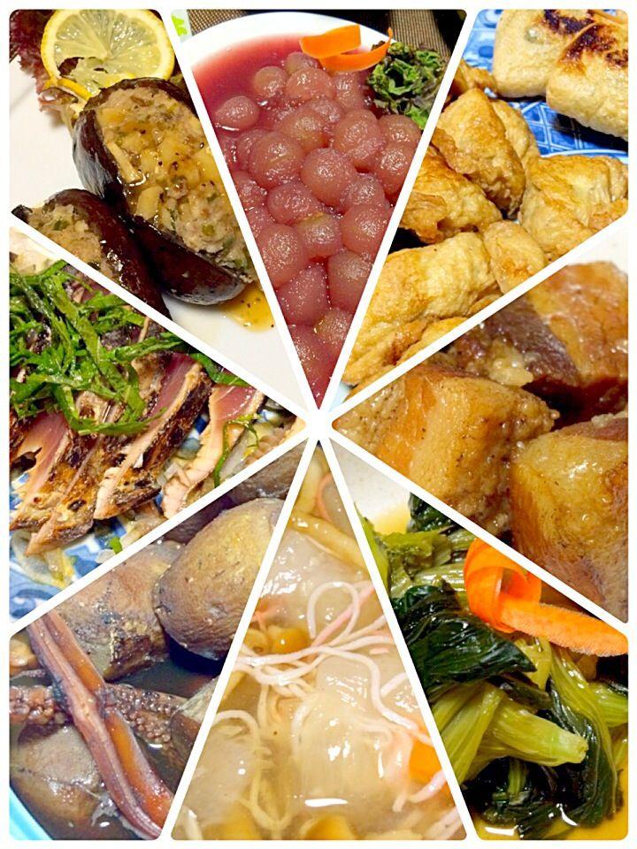 アケビの肉挟み 冬瓜のスープ 青梗菜のあんかけおひたし 鶏胸肉の茶巾焼きとネギ巾着 豚の角煮 烏賊と里芋の煮物 カツオのたたきなど