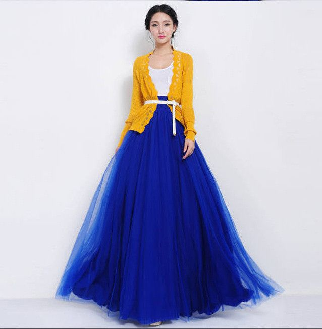 Pure Color Multi-Layer Mesh Long Skirt With Lace Belt On