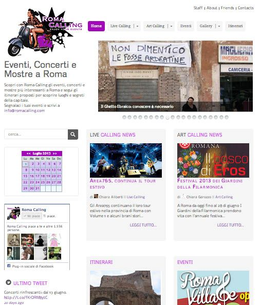 Sito web per Roma Calling - Portale di eventi a Roma http://www.romacalling.com/