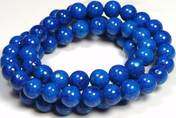 8mm Baltic Blue Fossil Stone Round Beads  16 by BlackrockBeads, $3.65