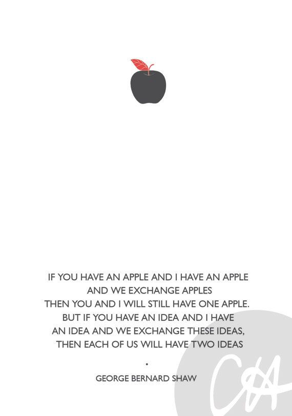 Apple George Bernard Shaw Quote Poster A4 by ClaireHefferDesign