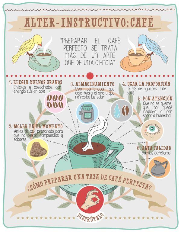 Cómo elaborar una taza de café perfecta #infografia
