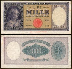 Collezione Personale di Banconote Italiane: 0.0.8. - 1000 LIRE ORNATA TESTINA