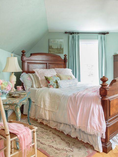 shabby chic vintage style bedroom romantic country magazine | Shabby ...