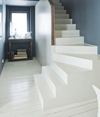 Farrow & Ball paints.  Wall: Down Pipe No.26 Estate Emulsion  Stairs and Floor: Off-White No.3 Floor Paint