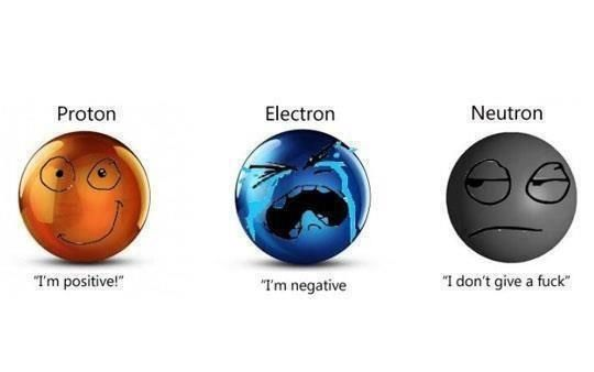 psych humour - neutrons, protons and electrons