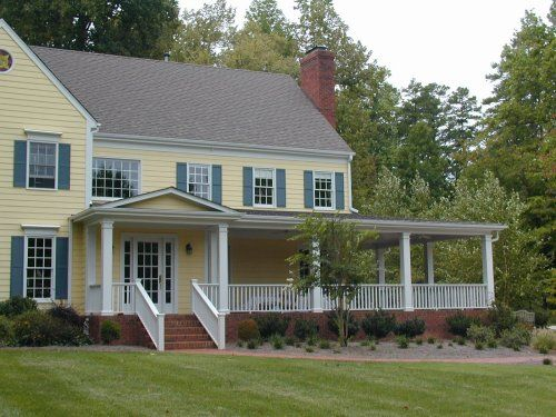 I Like this House addition with a wrap around porch to the back entrance: Addition Ideas, Dreams House, House Entrance, Front Entrance, Addition Renovation Ideas, Yellow House, Households Ideas, House Addition, Entrance Roof