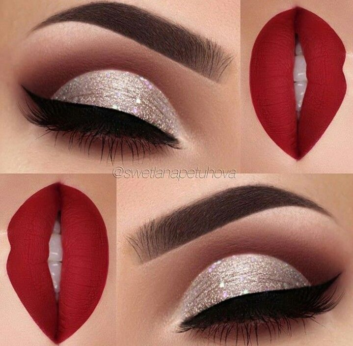 Cut crease glam red combo