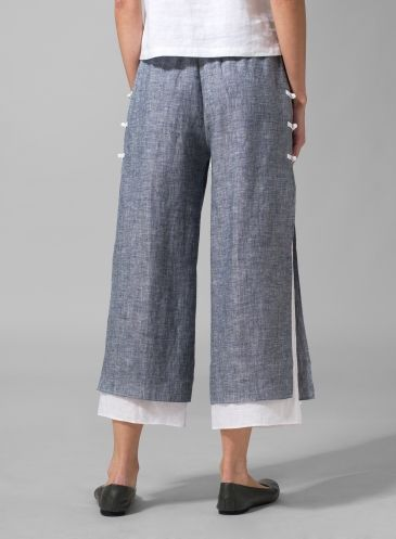 Linen Double-Layer Cropped Pants Two Tone Blue/White