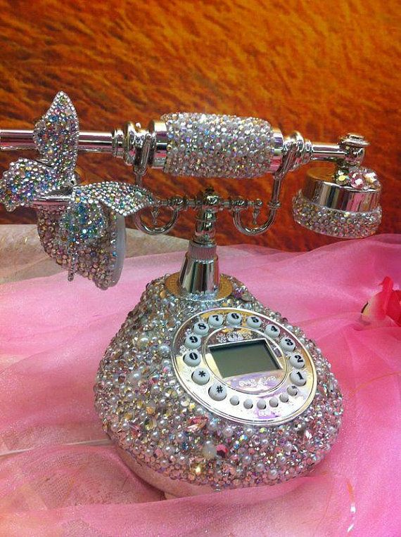 Bling Classic Vintage telephone Butterfly pearl by Crystaljam This is the cutes thing ^_^ i love it