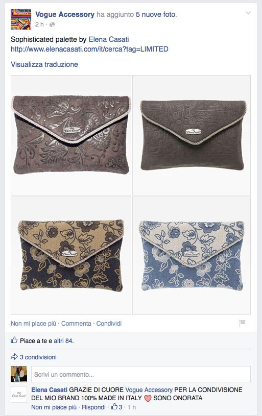 """POST ON """"VOGUE ACCESSORY"""" OFFICIAL FACEBOOK PAGE <3 <3 <3 <3 <3   https://www.facebook.com/permalink.php?story_fbid=846624772061023&id=483145365075634   #vogueaccessory #vogue #facebook #elenacasati #bagscollection #madeinitaly #love"""