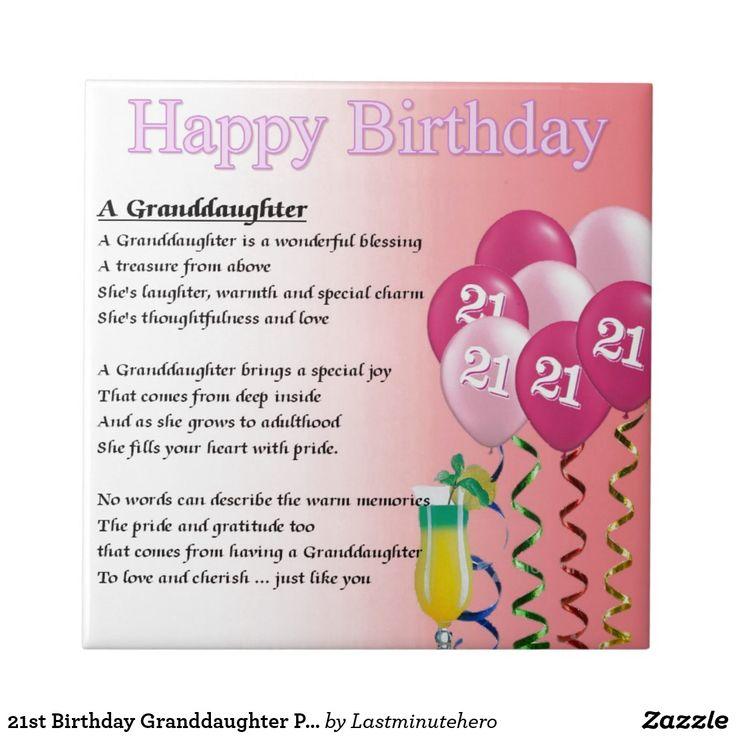21st Birthday Granddaughter Poem Tile Zazzle.co.uk