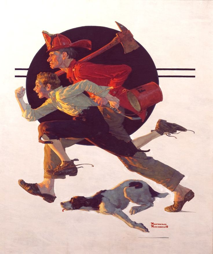 """Norman Rockwell ~ """"To The Rescue"""""""