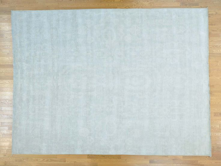 10' x 13.5' Handmade Pure Wool Washed Out Silver Oushak Oriental Rug Sh24926