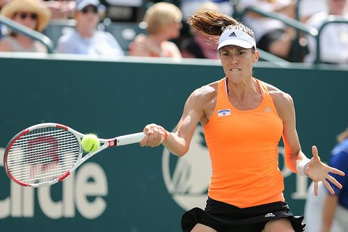 Petkovic hits a fierce forehand