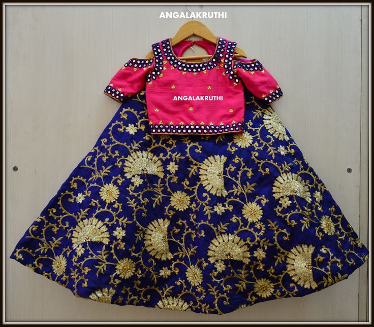 #Kids_custom_designs_Angalakruthi _Kids Lehenga with rich mirror hand embroidery  #Angalakruthi-Ladies and kids designer boutique in Bangalore  #Custom designs with online order placement service by Angalakruthi  Watsapp:+91-8884346333