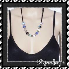 "Original collier ""betan"" avec perles en verre et argente 20cm long bdjewellery"